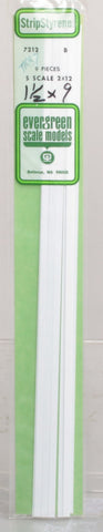 "Evergreen Scale Models 7212 .030"" X .188"" X 14"" S Scale 2' x 12' Styrene Strips (Pack of 9)"