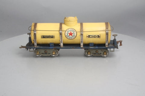 American Flyer 4010 Wide Gauge Tinplate Yellow Tank Car - Type V (RARE)