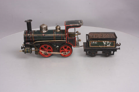 Marklin Standard Gauge Vintage Die Cast 0-4-0 Wind-Up Steam Locomotive and Tender