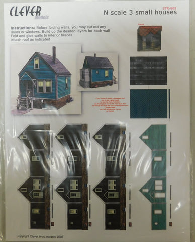 Clever Models STR-005 N Scale 3 Small Houses Kit