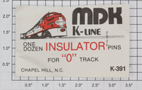 K-Line K-391 O Gauge Tubular Track Insulator Pins  (Pack of 12)
