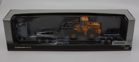 Motorart 13148 Volvo Semi Tractor Lowboy Flatbed Trailer with  L150c Wheel Loader