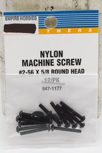 Walthers 947-1177 HO #2-56 X 5/8 Round Head Nylon Machine Screw (Pack of 12)