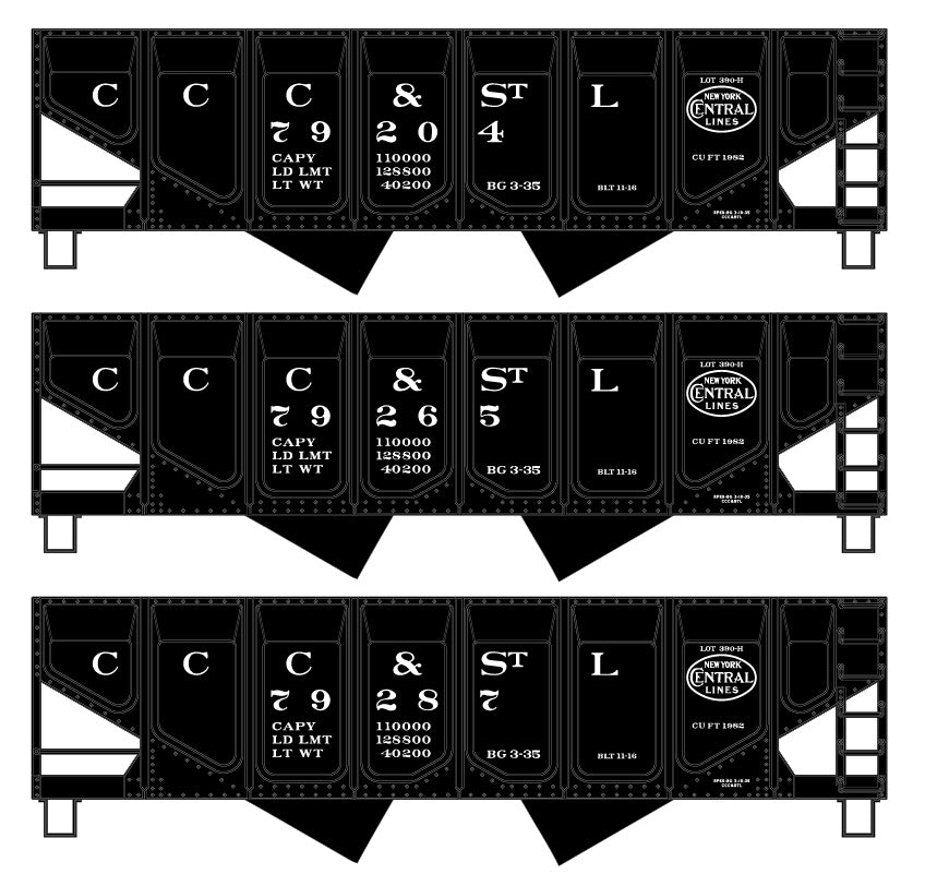 Accurail 28204 HO Cleveland, Cincinnati, Chicago and St. Louis Hopper Set (3)