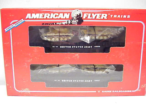 AF 6-48507 S Scale US Army Flatcars with Tanks (2 Car Set)