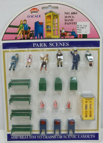 Model Power 6061 O Set of 5 Figures, Park Benches, & Accessories