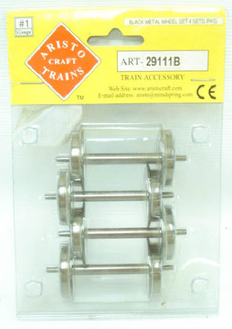 Aristo-Craft 29111B #1 Black Metal G Gauge Wheels (4 Wheel Sets)