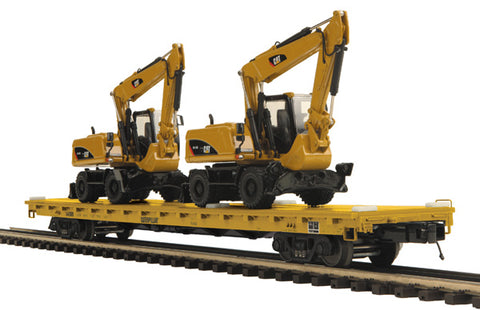 MTH 20-98682 Caterpillar 60' Flat Car with 2 CAT M316D Wheel Excavator Loaders