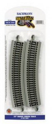 "Bachmann 44503 HO 22"" Nickel Silver Curved E-Z Track with Gray Roadbed  (Pack of 4)"