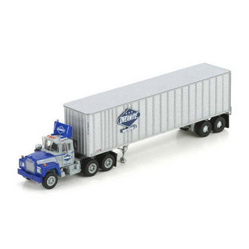 Athearn N Scale 3 Axle Tractor : Athearn n overnite mack r with post trailer