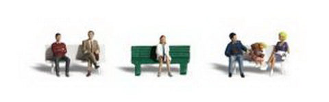 Woodland Scenics A2134 N Scale Bus Stop People Figures  (Set of 6)