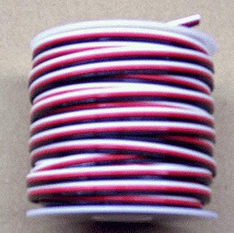 Gargraves 3CW18-1 3-Conductor 18 Gauge Black,Red,White Flat Wire - 100' Spool