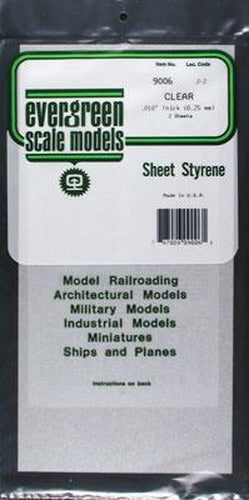 "Evergreen Scale Models 9006 .010"" x 6"" x 12"" Clear Sheets"