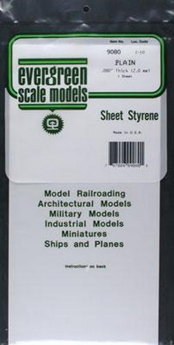 "Evergreen Scale Models 9080 .080"" x 6"" x 12"" Polystyrene White Sheet"