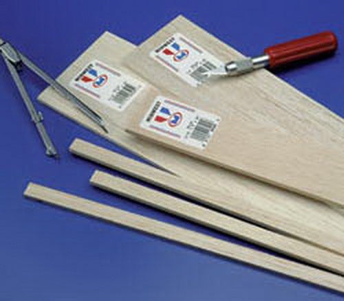 "Midwest Products 6026 1/16"" x 1/4"" x 36"" Balsa Wood Strips (Pack of 30)"
