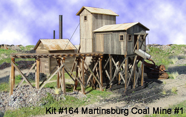 American Model Builders 164 Laser Art Martinsburg Coal Mine #1 Wood HO Scale Kit
