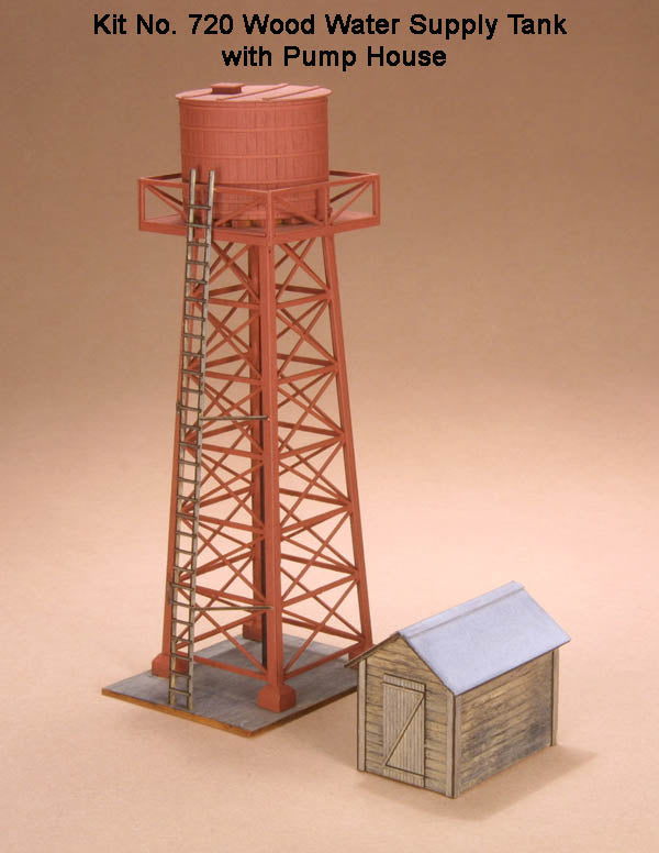 American Model Builders 720 HO Wood Water Supply Tank w/Pump House Kit
