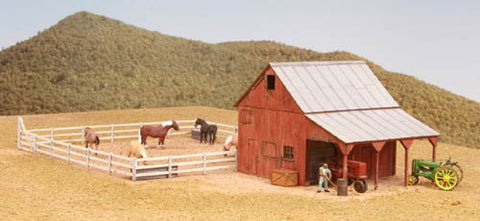 American Model Builders 726 HO Implement Barn w/Corral Kit
