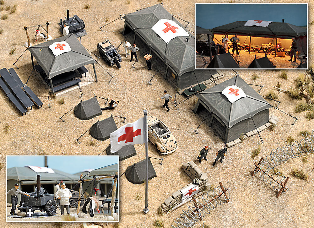 Busch 9605 HO Military Field Hospital Building Kit and Accessories