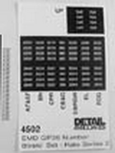 Detail Associates 4502 HO Numberboard Set for EMD GP35 (Fits Kato Series 2)