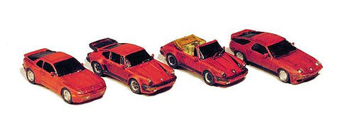 GHQ 51015 N Sports Car Variety Pack Unpainted Metal Kit pkg(4)