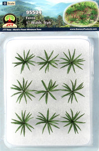"JTT Scenery Products 95534 O Gauge 1"" Ferns (Pack of 9)"