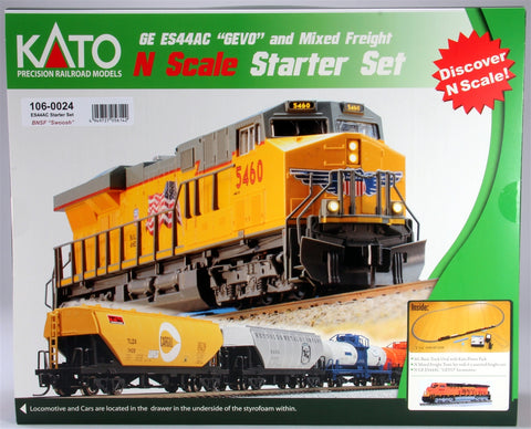 Kato 106-0024 N BNSF Wedge ES44AC Freight Train Set