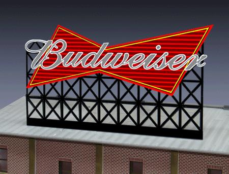 Miller Engineering 4982 N Budweiser Beer Animated Neon Billboard