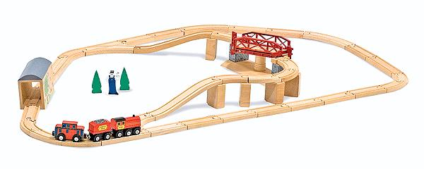 Melissa & Doug 704 Swivel Bridge Wooden Train Set