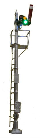 Tomar Industries 871 HO LED Upper-Quadrant 3-Light/Position Semaphore Signal CNW Style, Square Arm