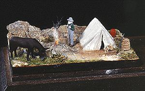 G-R-S Micro Liting 2001 HO Miniature Scene, Prospector's Camp w/Working Fire