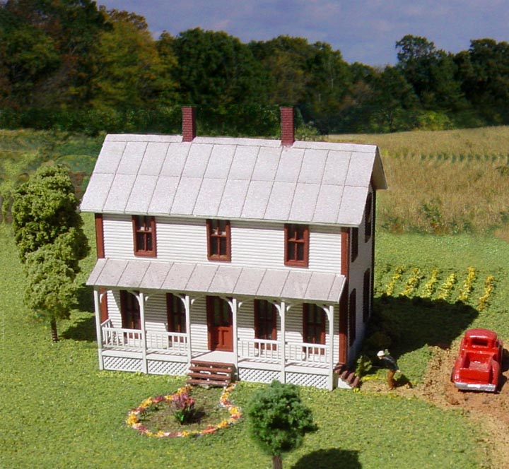 American Model Builders 640 Laser Art Two-Story Farmhouse with Porch N Scale Kit