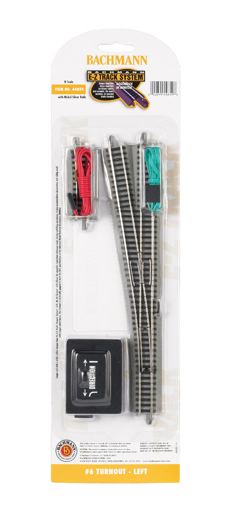 Bachmann 44859 N EZ Track Nickel Silver #6 Left Hand Switch Turnout