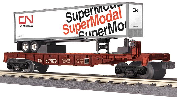 MTH 30-76513 CN Flat Car with Trailer
