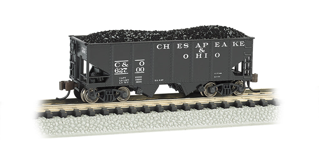 Bachmann 19555 N Chesapeake & Ohio  55-Ton 2-Bay Open Hopper w/Load