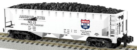 American Flyer 6-48647 S Scale American Flyer Lines 3-Bay Hopper w/Coal Load