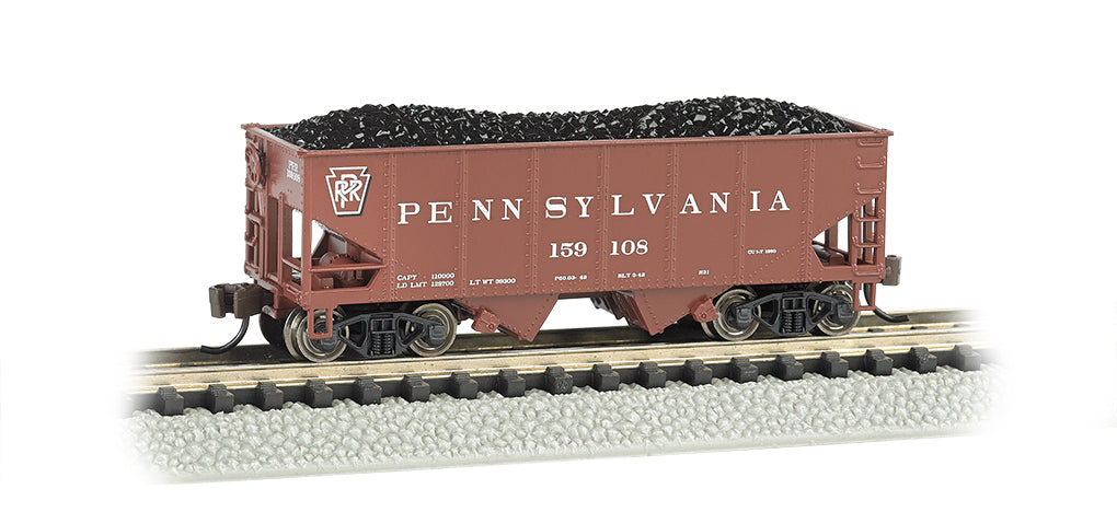Bachmann 19551 N Pennsylvania 55-Ton 2-Bay Open Hopper w/Load #159108