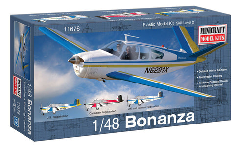 Minicraft 11676 1/48 Beech Bonanza Aircraft Model Kit