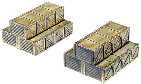 Classic Metal Works 20211 HO Stacked Wooden Crates Truck Load Fits CMW Flatbed/Stakebed (2)