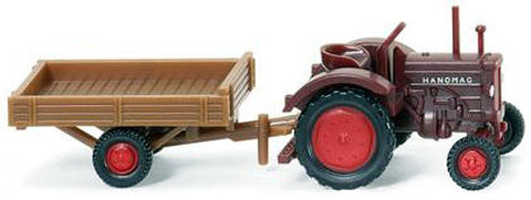 Wiking 095302 1:160 N Hanomag R 16 Wine Red Tractor with Brown Trailer