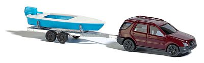 Busch 8334 1:160 N Mercedes-Benz M-Klasse SUV with Boat & Trailer