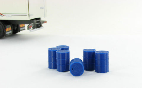 3D to Scale 43-240-BL 1:43 Barrels, 55 Gallon - 6 pack blue - ABS plastic