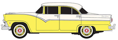 Classic Metal Works 30399 HO 1955 Ford Fairlane 4-Door Town Sedan - Goldenrod Yellow/Snowshoe White