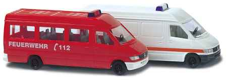 Busch 8308 1:160 N Mercedes Sprinter Vans - Fire & Ambulance