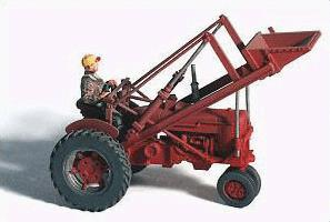 GHQ 60005 HO Farm Machinery 1950s Red Super M-TA Farm Tractor w/Front Loader & Farmer Figure