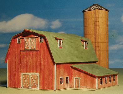 GC Laser 5304 Z Scale Ellis' Barn & Silo - Kit (Laser-Cut Wood)