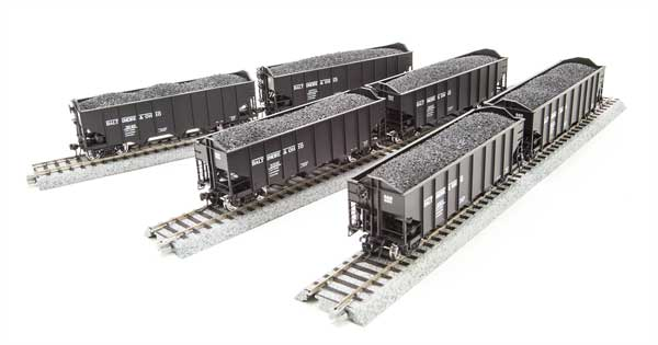 Broadway Limited 3119 N Baltimore & Ohio N&W Class H2A 3-Bay Hopper (6)