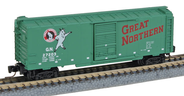 MicroTrains 99400068 Z Great Northern 40' Single-Door Boxcar 4-Car Runner Pack - Ready to Run