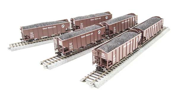 Broadway Limited 3127 N Great Northern N&W Class H2A 3-Bay Hopper with Load (6)