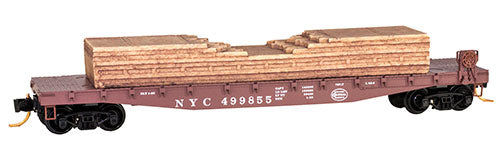 50' Fishbelly Flatcar w/Side-Mount Brake Wheel & Lumber Load - Ready to Run